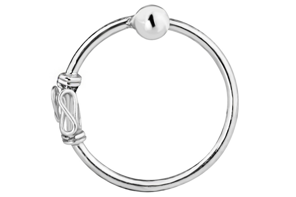 This 20g nose hoop is made with .925 Sterling Silver and features a unique Balinese design. Our one-side-fixed ball closure design is easy to use and secure. Simply un-fix one side of the ring and insert the ring into the piercing. Once the ring is in place, affix the wire back into the ball.