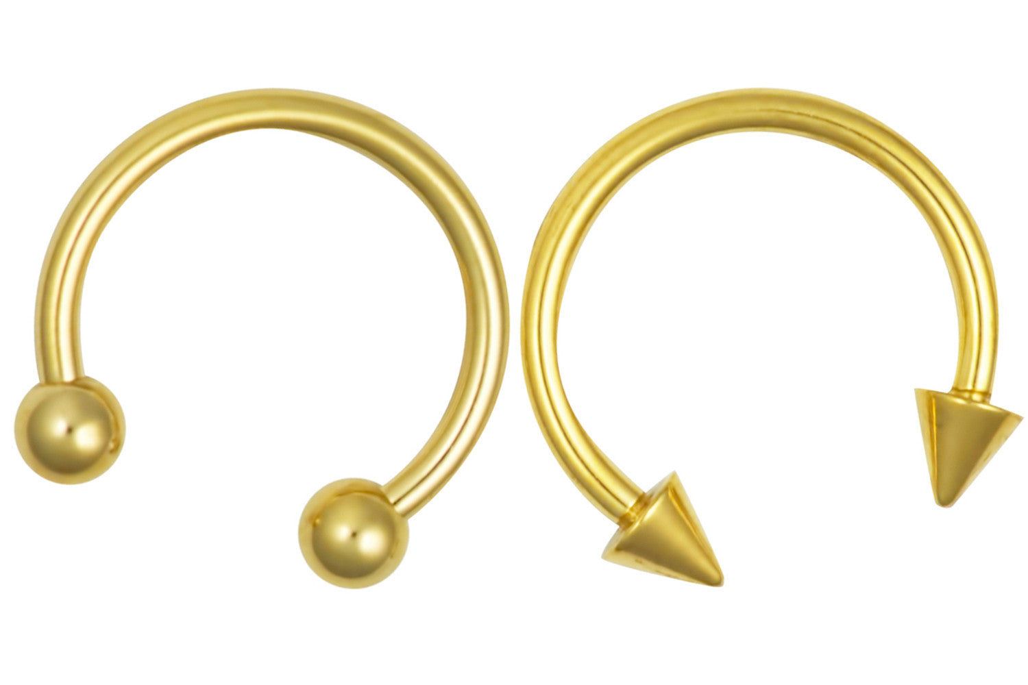 These 16 gauge septum horseshoe rings are made with surgical grade 316L Stainless Steel and Yellow Gold IP plating. IP (Ion Plating) is a safe and permanent fusion coating process used to enhance the durability, color and shine of body jewelry. These body jewelry rings are hypoallergenic and nickel free.