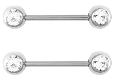 Clear Double Gem Nipple Barbells