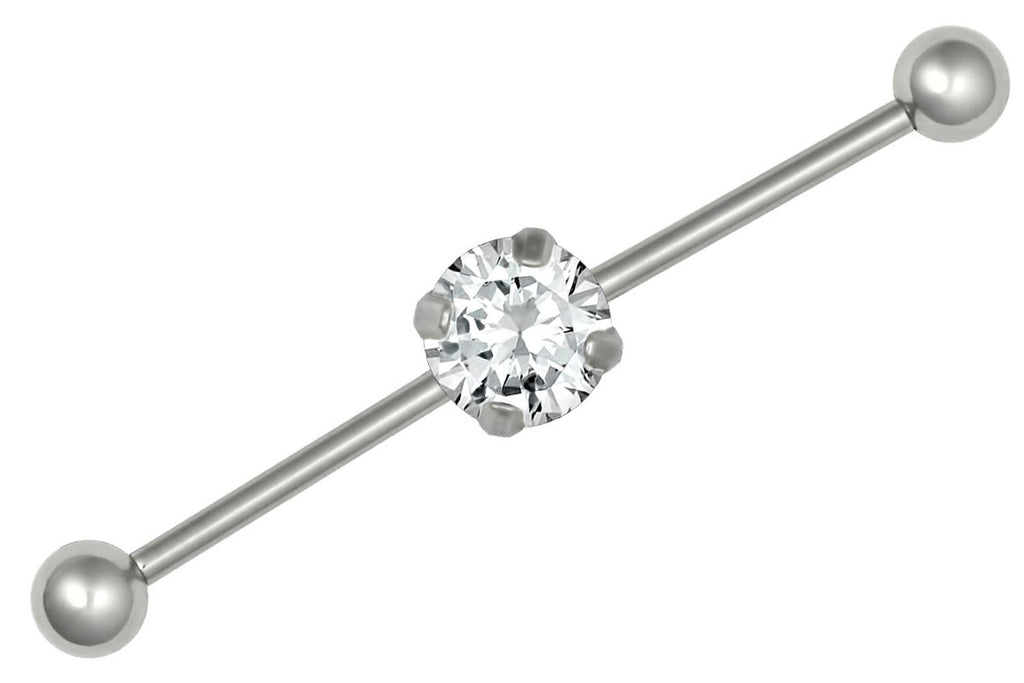 "This 14 gauge industrial piercing barbell measures 1.5"" and comes with 5 mm balls. This jewelry features a round Cubic Zirconia solitaire crystal (5 mm diameter). Both balls unscrew for easy use. This barbell is made with surgical grade 316L Stainless Steel. This body jewelry is hypoallergenic and nickel free."