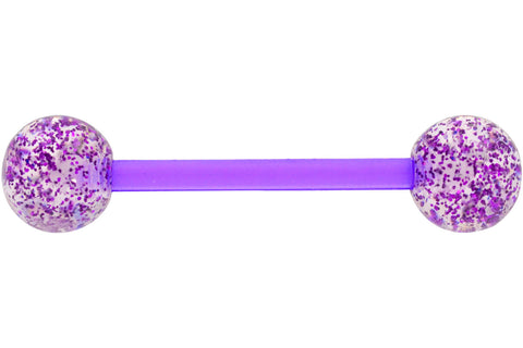 Purple Glitter Tongue Barbell