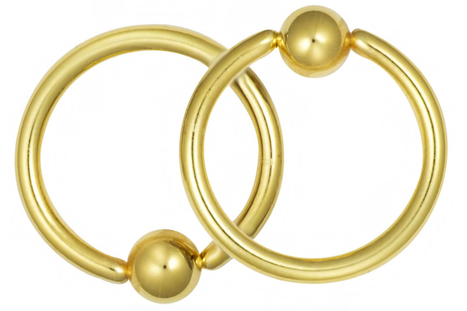 "These 16 gauge 7/16"" captive bead rings are made with surgical grade 316L Stainless Steel and yellow gold IP plating. IP (Ion Plating) is a safe and permanent fusion coating process used to enhance the durability, color and shine of body jewelry. These hoops can be worn in virtually any 16 gauge piercing and are most commonly used for the septum, lip and various piercings on the ear. These hoops come with 4 mm balls and they are hypoallergenic and nickel free."