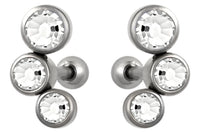 "These 16 gauge cartilage stud earrings feature three Cubic Zirconia crystals. This jewelry has a 1/4"" (6 mm) barbell and 3 mm balls. The earrings are made with surgical grade 316L stainless steel."