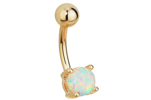 Synthetic White Opal Belly Ring
