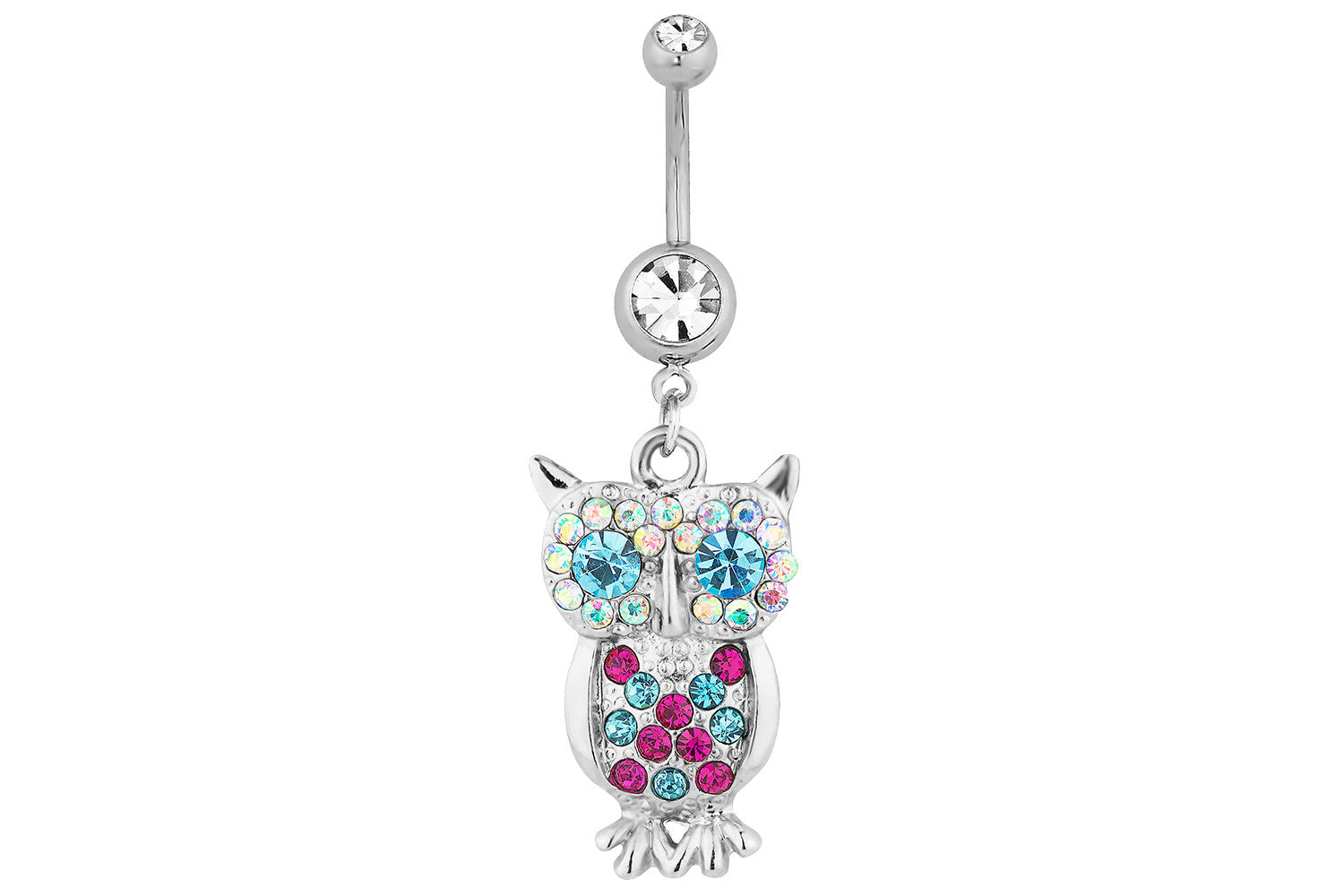 Clear Pave Gem Owl Dangle Belly Ring