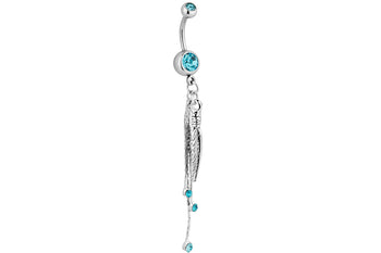 Light Blue Double Gem Belly Ring with Feathers