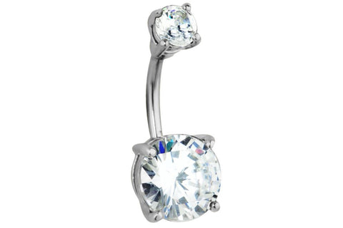 14g Surgical Steel Big Bling Crystal Belly Ring