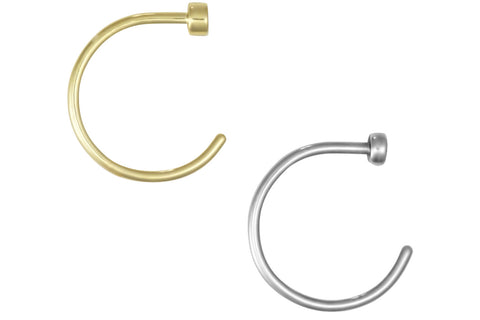 "This set of nose hoops is made with surgical grade 316L stainless steel & Yellow Gold IP plating. These hoops are 5/16"" (8 mm) in diameter. This 20 gauge nose jewelry is hypoallergenic and lead & nickel free."