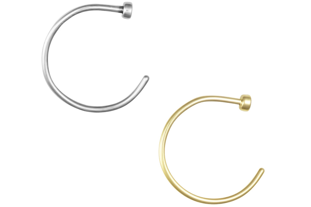 "This set of nose hoops is made with surgical grade 316L stainless steel & Yellow Gold IP plating. These hoops are 3/8"" (10 mm) in diameter. This 20 gauge nose jewelry is hypoallergenic and lead & nickel free."