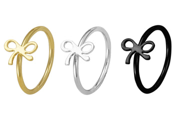 Set of 3 Nose Hoops: Black, Gold, and Silver Bows