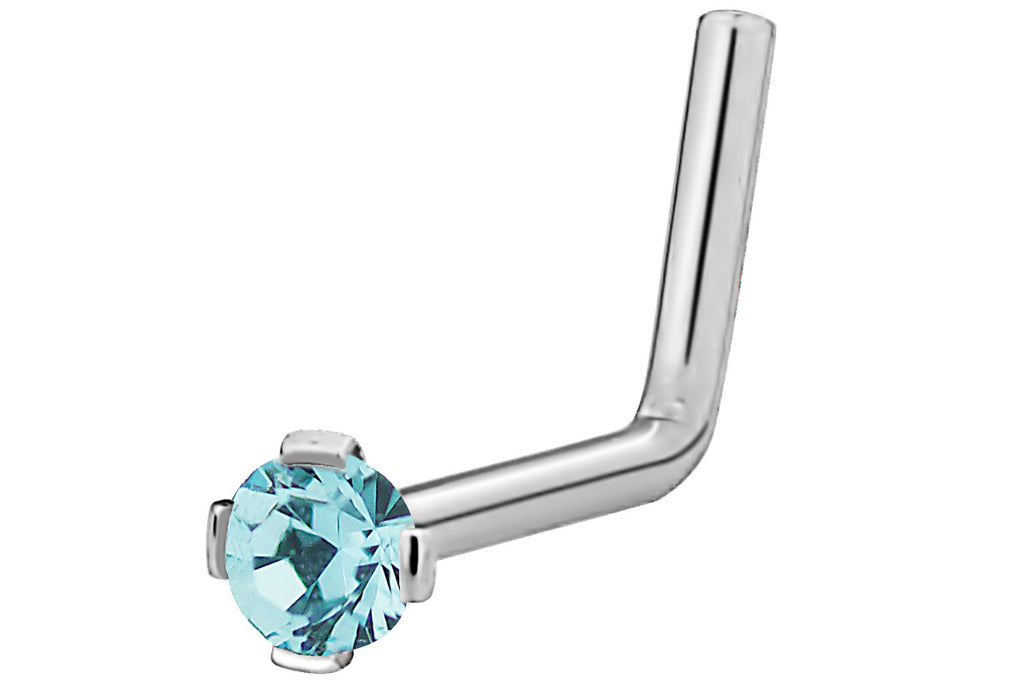 This L-shaped nose stud is made entirely with 316L Surgical Steel (including the prongs). This nose jewelry features a 2 mm Cubic Zirconia round crystal and is hypoallergenic and nickel free.
