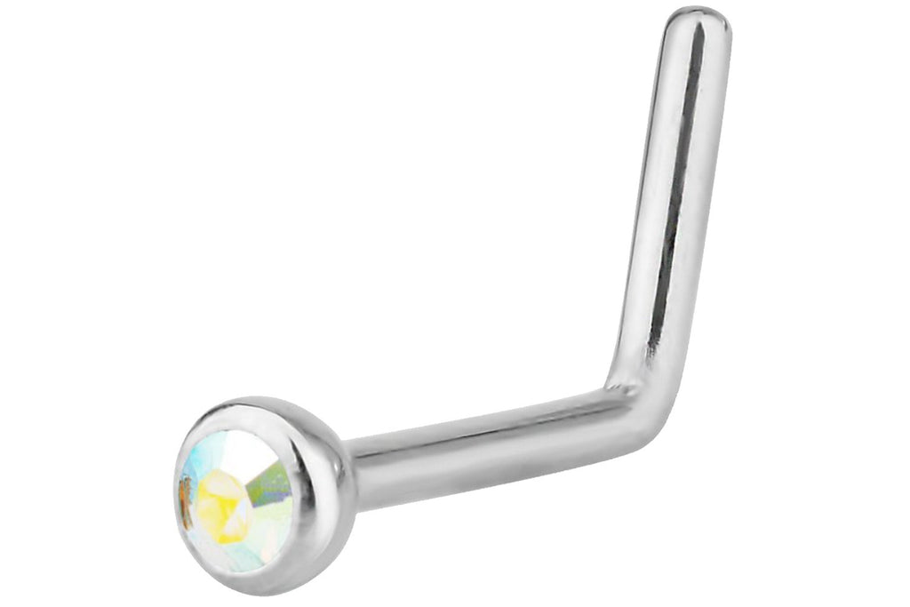 Aurora Borealis L-Shaped Nose Ring