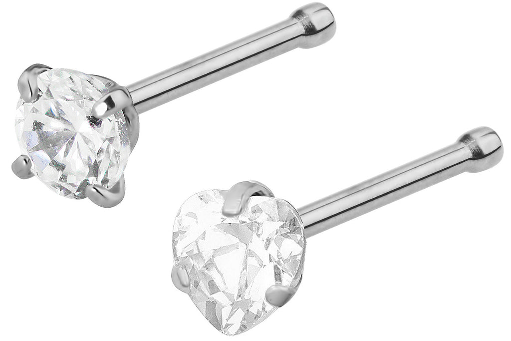 These hypoallergenic nose studs are made entirely with 316L Surgical Steel (including the prongs). They each feature a 3 mm Cubic Zirconia crystal, one round and one heart shaped. The end of the bone is slightly notched to keep the stud securely in place. This jewelry has a 7 mm wearable length.