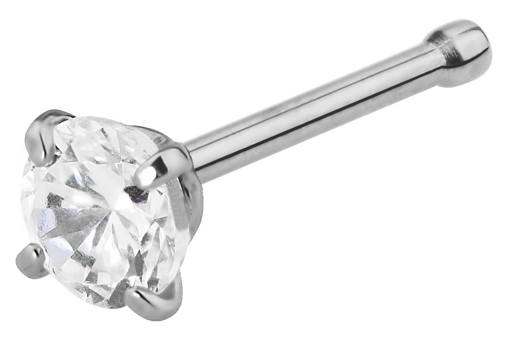 This 20 gauge nose stud  is made with surgical grade 316L stainless steel. The straight nose stud features a 3 mm Cubic Zirconia crystal. This body jewelry is hypoallergenic and nickel free. The wearable length is 7 mm and this jewelry has a slightly rounded end to keep the stud securely in place.