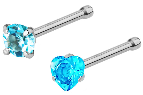 Round & Heart Shaped Crystal Nose Studs