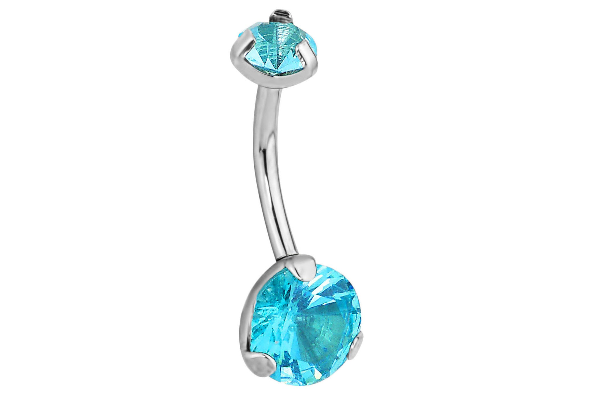 2.5 Ct Solitaire Aqua Belly Ring