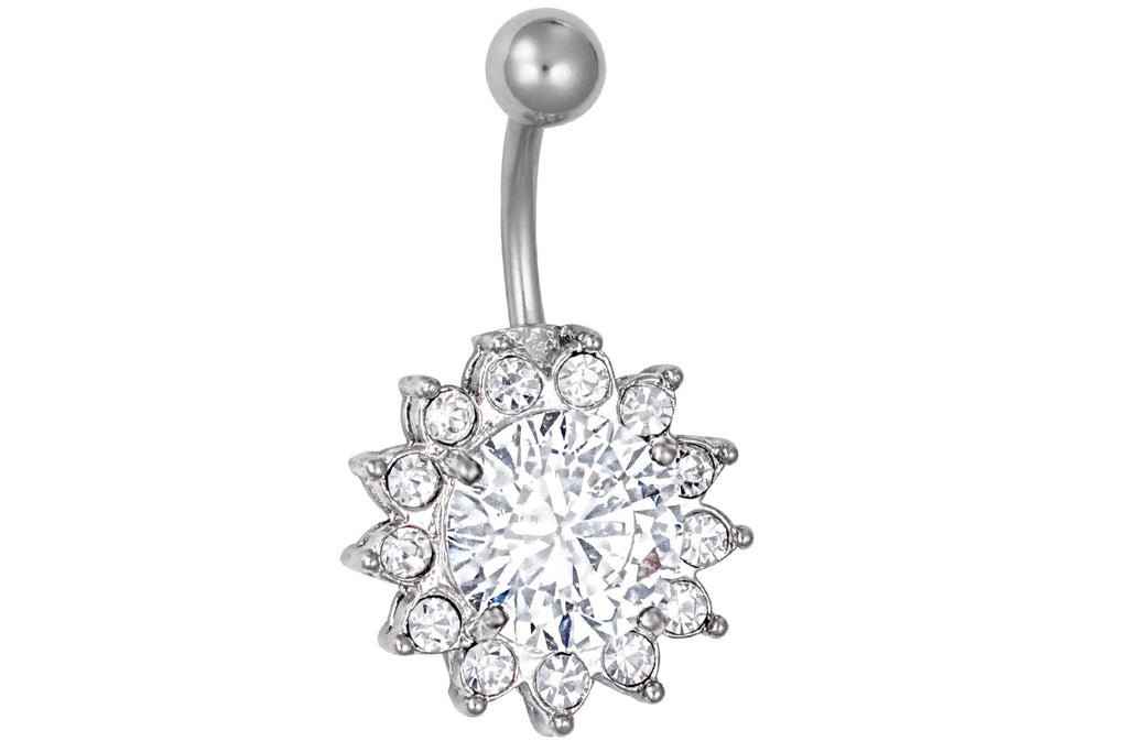 "Our large crystalline CZ belly button ring is made with surgical grade 316L stainless steel & Cubic Zirconia simulated diamond crystals. The solitaire crystal measures 7/16"" across and the total diameter is 11/16"". This 14 gauge body jewelry is hypoallergenic and nickel free."