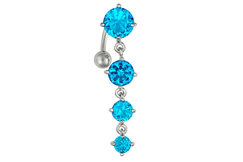 "This 14 gauge sexy dangle belly ring is made with surgical grade 316L stainless steel. The barbell is 3/8"" long and the total dangle length of the four cascading crystals is 1 3/8""."