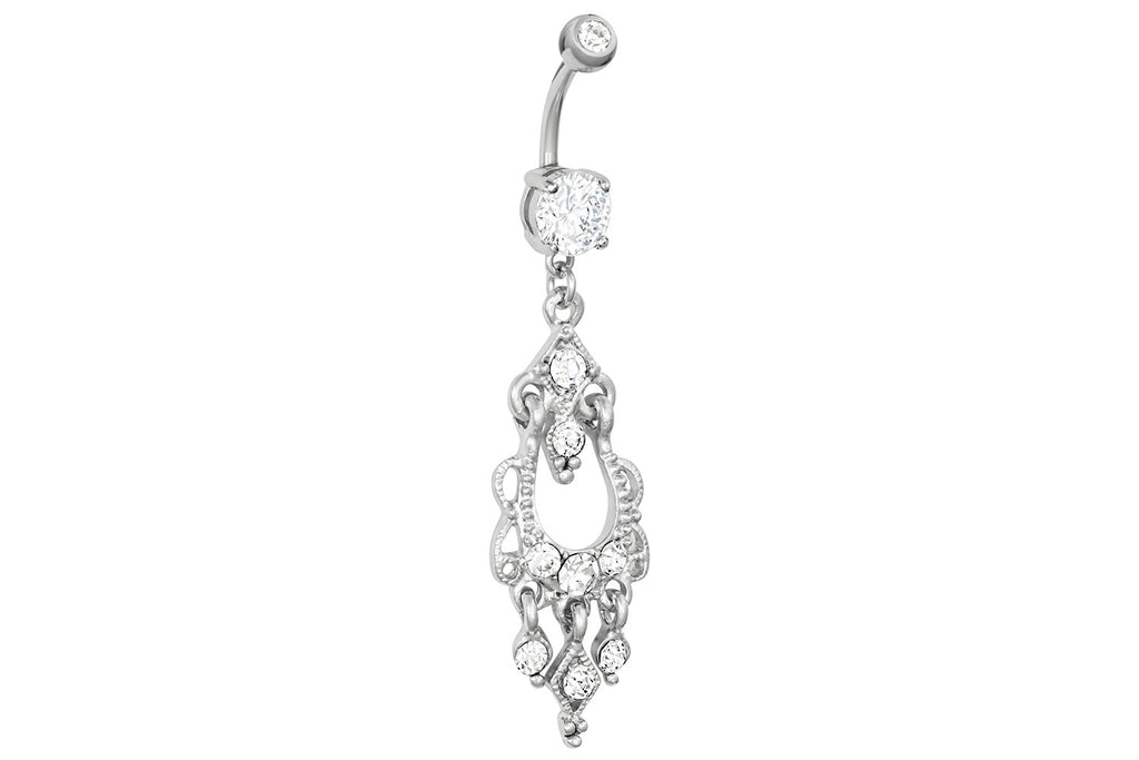 Our fancy chandelier dangle belly button ring is made with surgical grade 316L stainless steel. This 14 gauge body jewelry is hypoallergenic and nickel free, and the total dangle length is 1.5 inches.