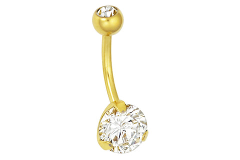 14kt Gold Plated Surgical Steel Double Jeweled Cubic Zirconia Crystal Belly Ring