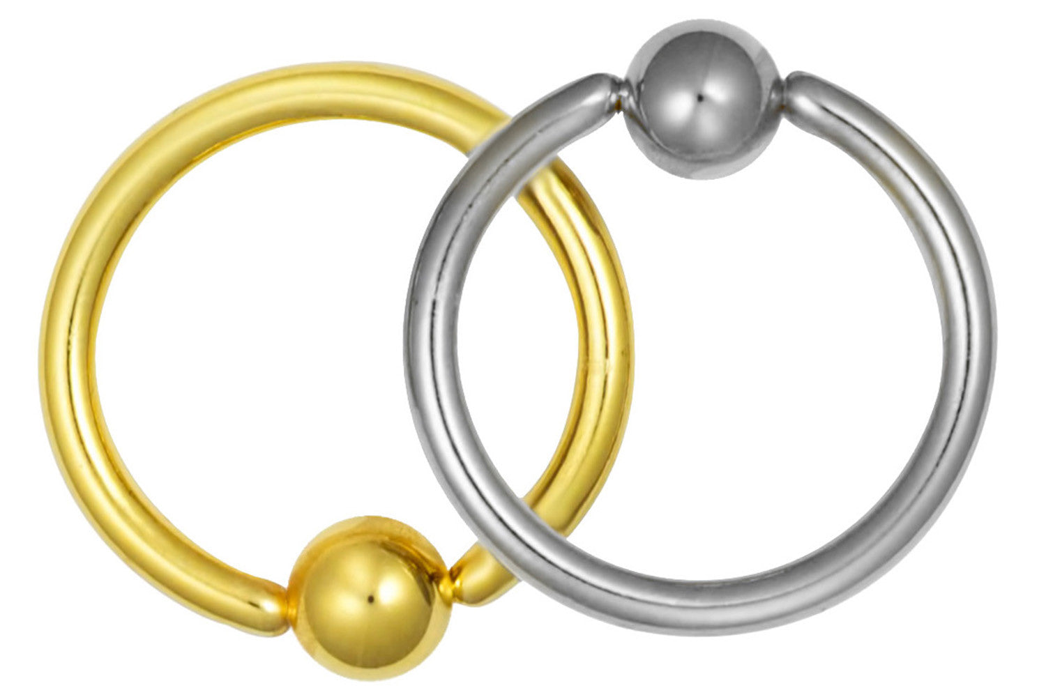Pair of 14k Gold Plated Captive Bead Nipple Rings