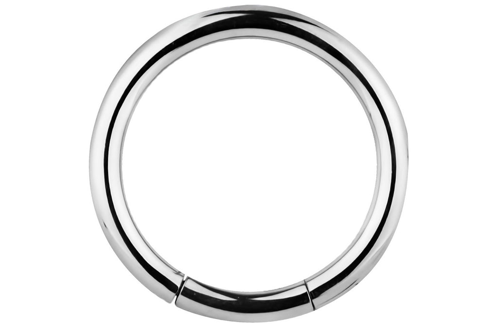 This 12 gauge segment hoop ring is hypoallergenic and nickel free. It can be worn in a variety of 12 gauge body piercings.