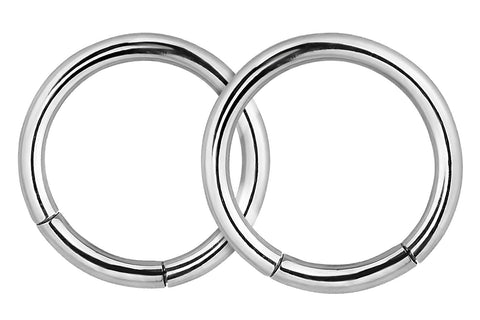 These 16 gauge segment hoop rings are hypoallergenic and nickel free. They can be worn in a variety of 16 gauge body piercings.