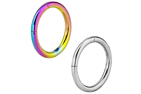 These 16 gauge endless cartilage hoop earrings are made with surgical grade 316L stainless steel. The rainbow ring is made with Surgical Steel and rainbow Titanium IP Plating. IP Plating (Ion Plating) is a safe and permanent surface refinishing process that produces a harder, brighter, more durable piece of jewelry. These hoops are 8 mm in diameter.