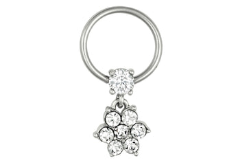 Clear Flower Dangle Hoop Nipple Ring