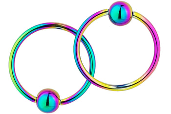 Pair of Rainbow Captive Bead Rings