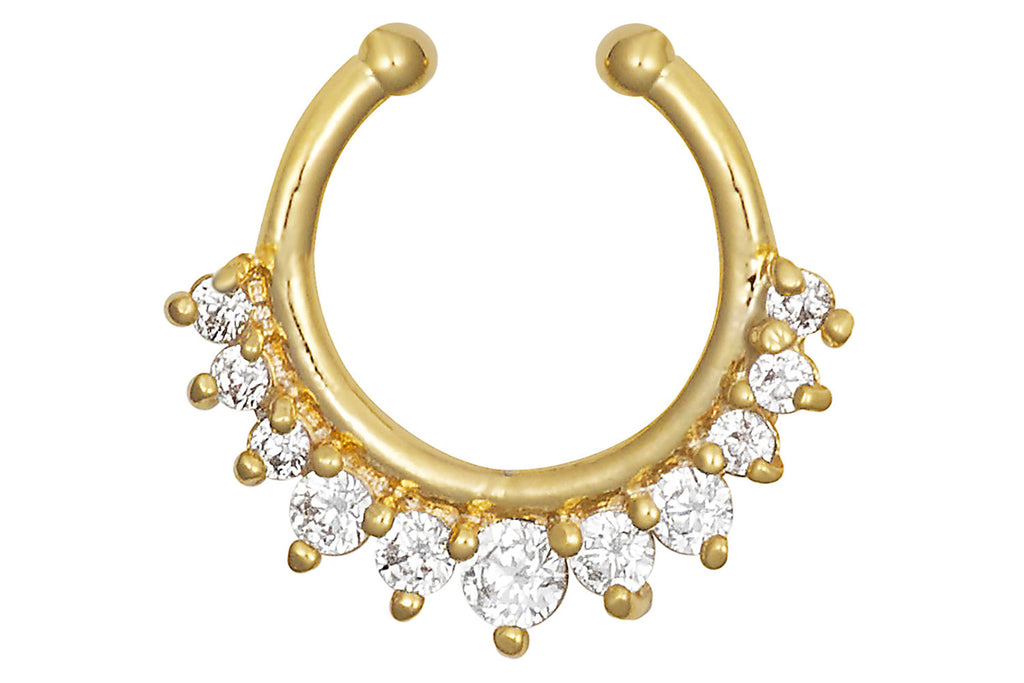 Get the look of a piercing without the pain! This exotic non-piercing body jewelry is made with high shine yellow gold ion plated brass and Cubic Zirconia simulated diamond crystals.