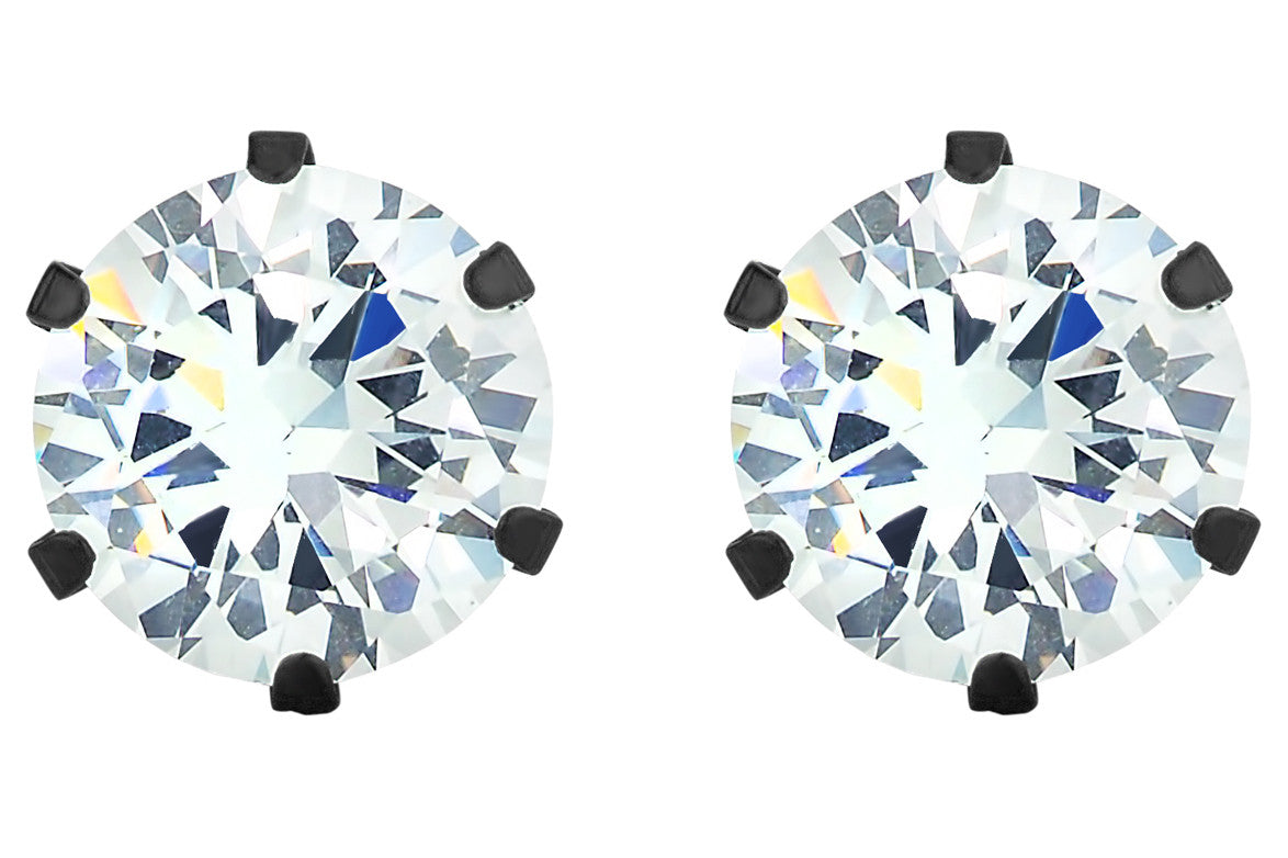Clear Gem Black Stud Earrings