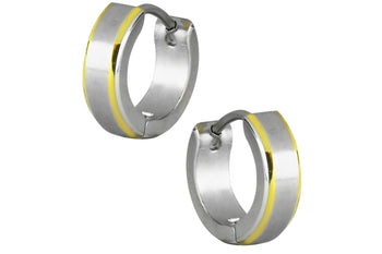 Two Tone Brushed Center Huggie Hoop Earrings