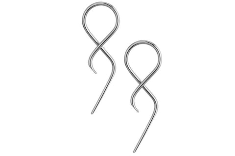 These unique twist tail taper earrings are made with 316L Surgical Steel and are nickel free and hypoallergenic. They are 14 gauge (1.6 mm thick) and measure 1.75 inches in length.
