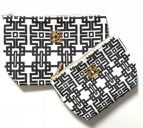 Cosmetic Case - Aztec (Black) - The Blush Label - Vibrant Resort Wear & Home Decor