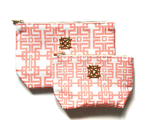 Cosmetic Case - Aztec (Coral) - The Blush Label - Vibrant Resort Wear & Home Decor