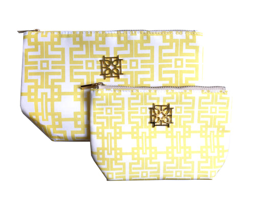 Cosmetic Case - Aztec (Marigold) - The Blush Label - Vibrant Resort Wear & Home Decor