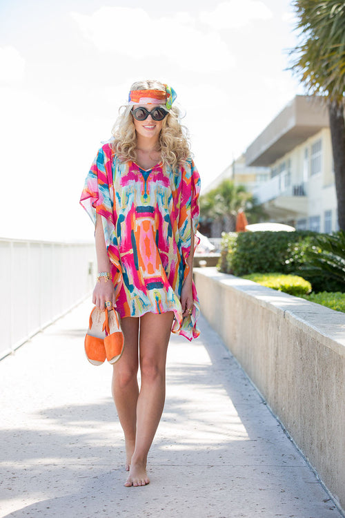 Beach Caftan Cover Up - Bombay - The Blush Label - Vibrant Resort Wear & Home Decor