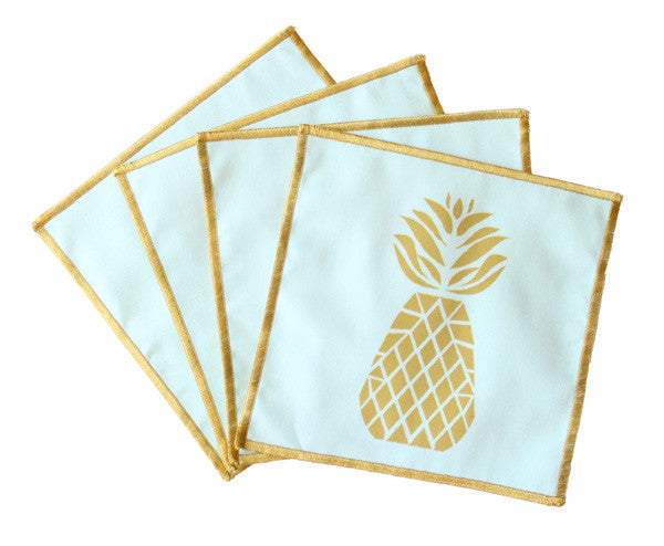 Courtney Pineapple Cocktail Napkins - Pale Blue - The Blush Label