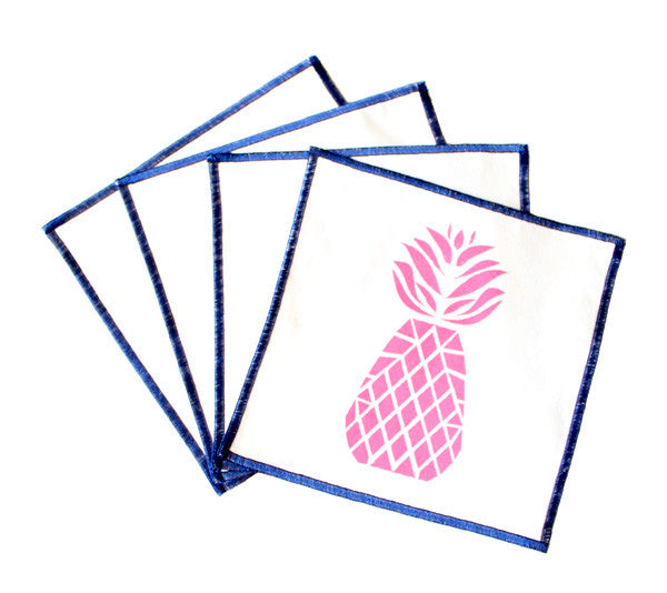 Courtney Pineapple Cocktail Napkins - Bright Pink - The Blush Label