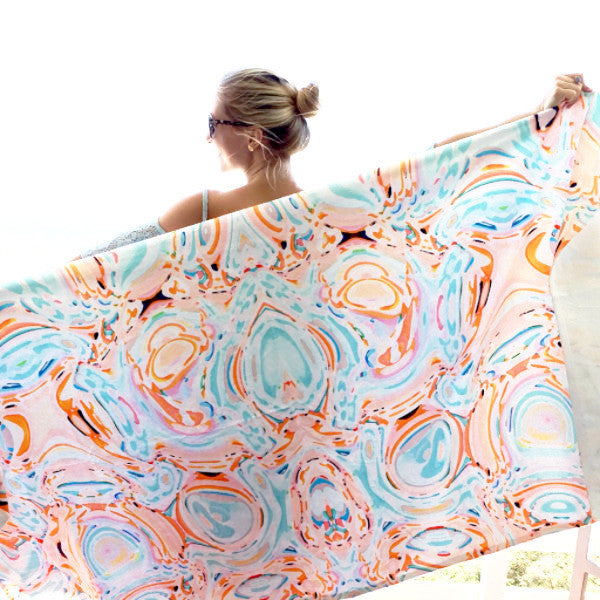 Beach Towel - Celia (Aqua/Orange) - The Blush Label - Vibrant Resort Wear & Home Decor
