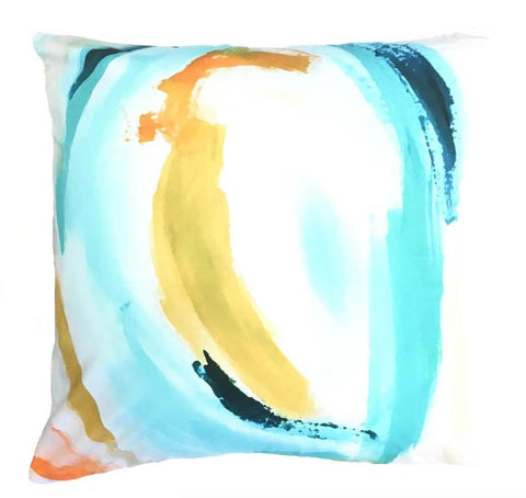 Indoor/Outdoor Pillow - Watercolor (Pink/Orange)