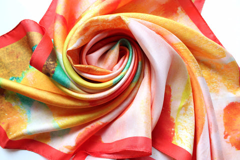 Silk Scarf - Celia (Aqua/Orange)