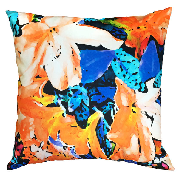 Indoor/Outdoor Pillow - Azalea (Orange/Blue) - The Blush Label