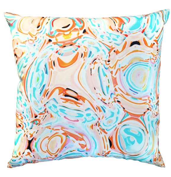 Indoor/Outdoor Pillow - Celia (Aqua/Orange) - The Blush Label