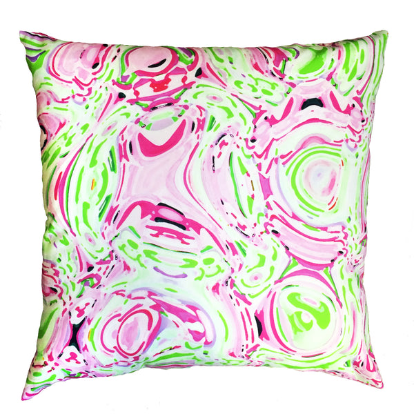Indoor/Outdoor Pillow - Celia (Pink/Green) - The Blush Label