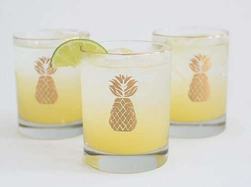 Glassware - Pineapple Rocks Glasses - The Blush Label - Vibrant Resort Wear & Home Decor