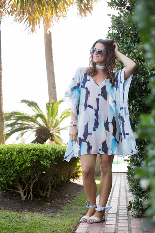 Beach Caftan Cover Up - Peacock