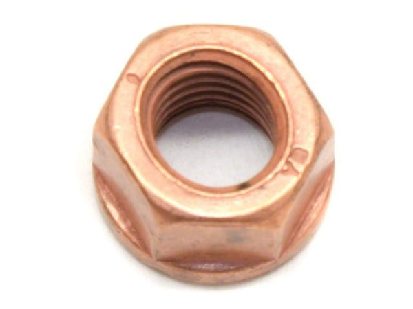 DIFtech Exhaust Nut M10 x 1.50 Top Lock Flange Copper 15mm Hex 10430 - Diftech