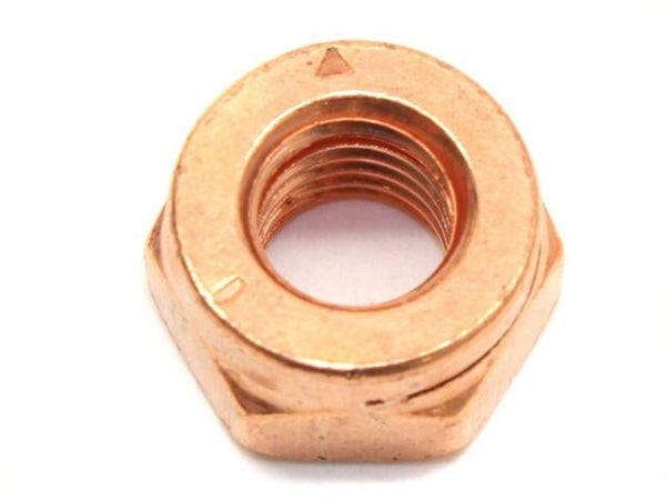 DIFtech Exhaust Nut M10 x 1.50 Slit Locking Head Copper 17mm Hex 10425 - Diftech